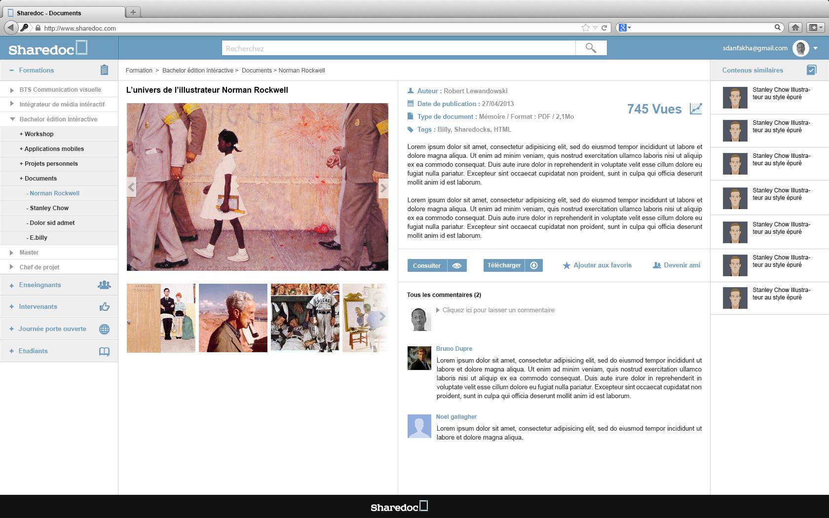 """page document """"sharedoc"""" : activité dans le cours d'ergonomie """"la fonderie de l'image"""""""