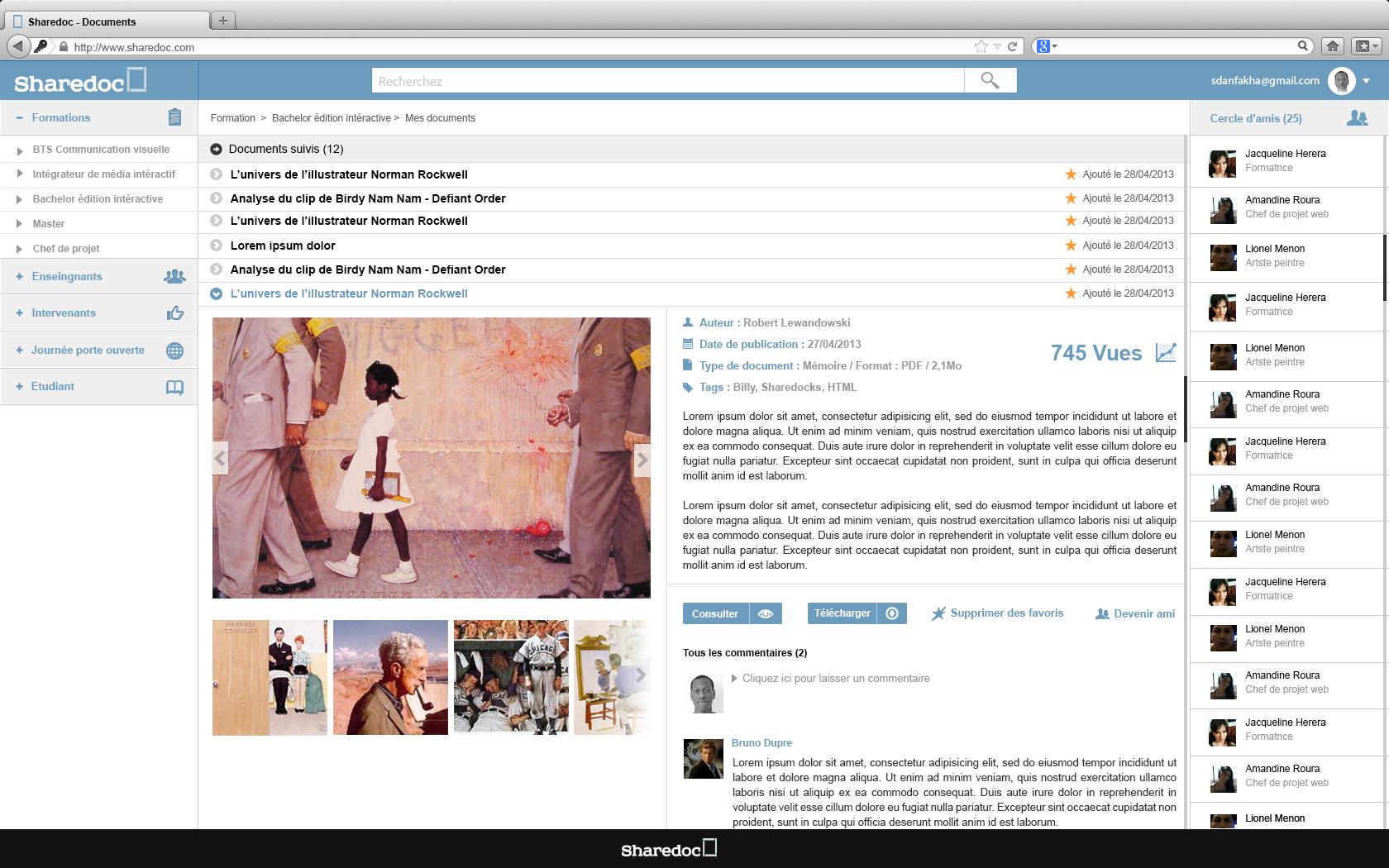 """page favoris """"sharedoc"""" : activité dans le cours d'ergonomie """"la fonderie de l'image"""""""