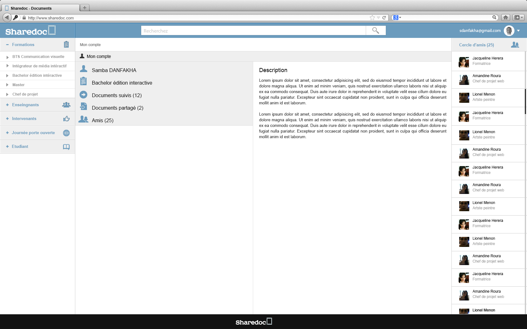 """page profil """"sharedoc"""" : activité dans le cours d'ergonomie """"la fonderie de l'image"""""""