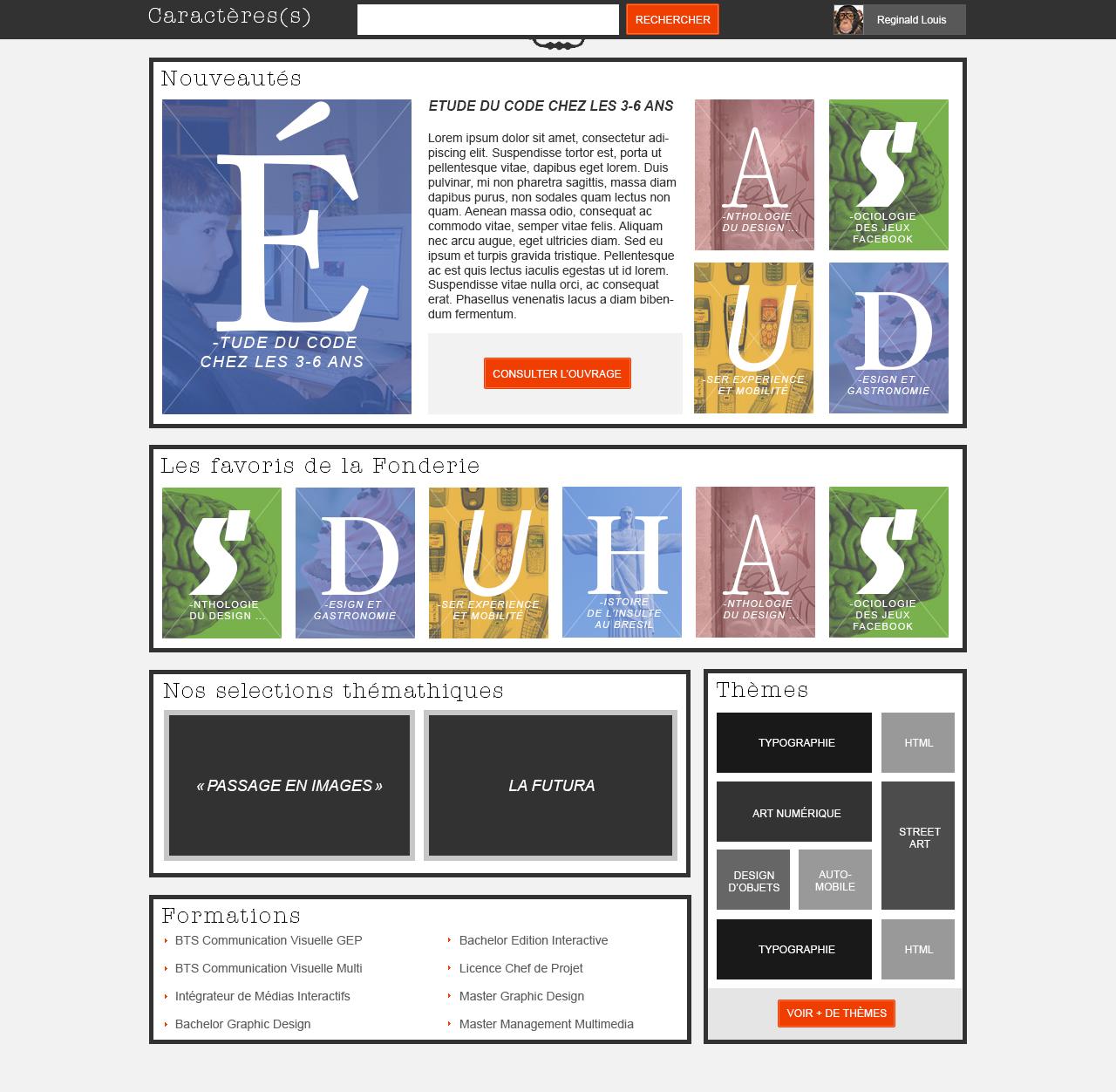 """page d'accueil """"Caractère(s)"""" : activité dans le cours d'ergonomie """"la fonderie de l'image"""""""
