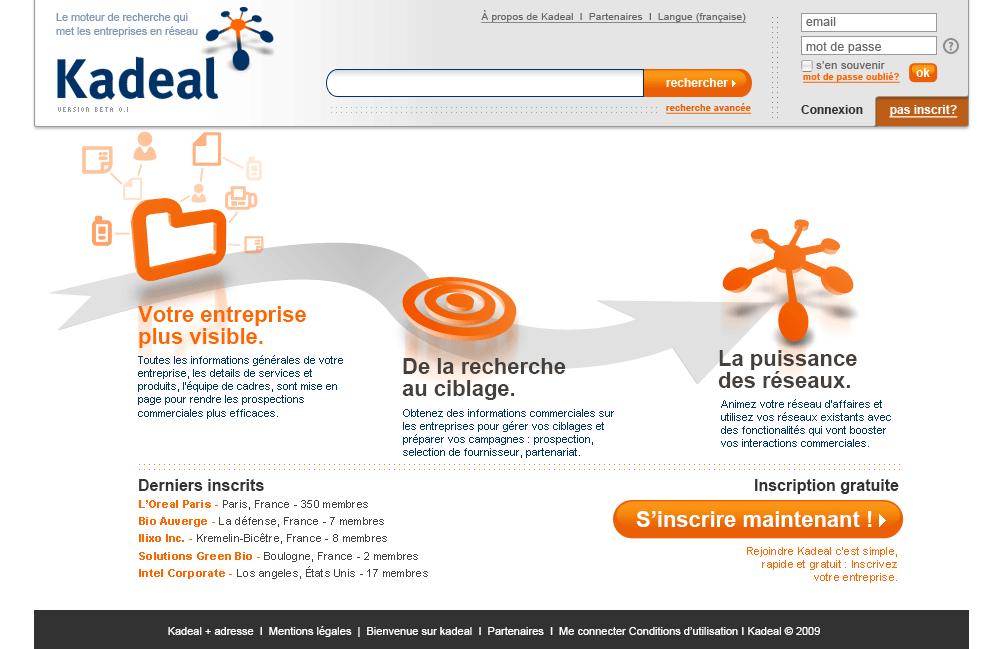 Kadeal.com ergonomie et interfaces d'un réseau social