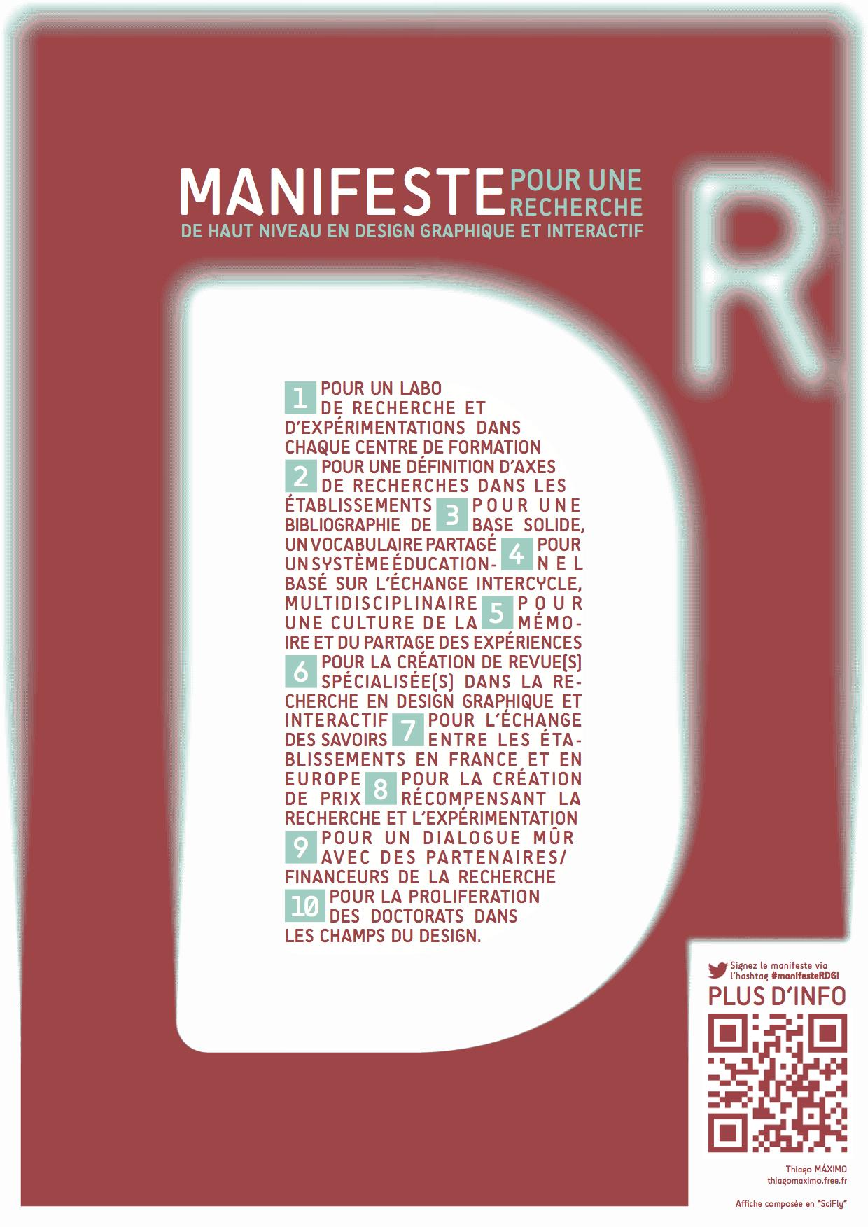 Affiche du Manifeste pour une recherche de haut niveau en design graphique et interactif
