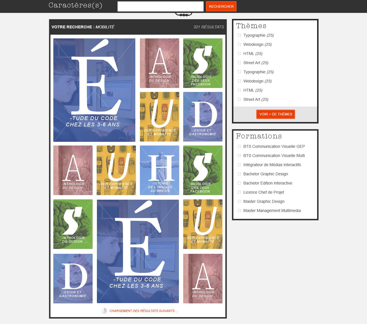 """page de resultats de la recherche """"Caractère(s)"""" : activité dans le cours d'ergonomie """"la fonderie de l'image"""""""