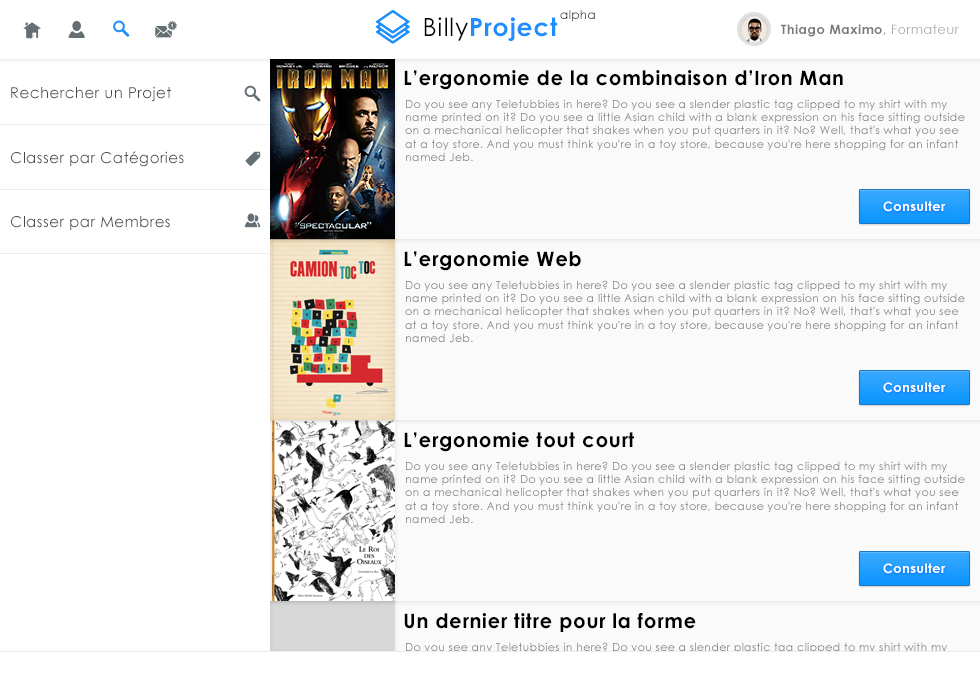 """page liste Billyproject : activité dans le cours d'ergonomie """"la fonderie de l'image"""""""