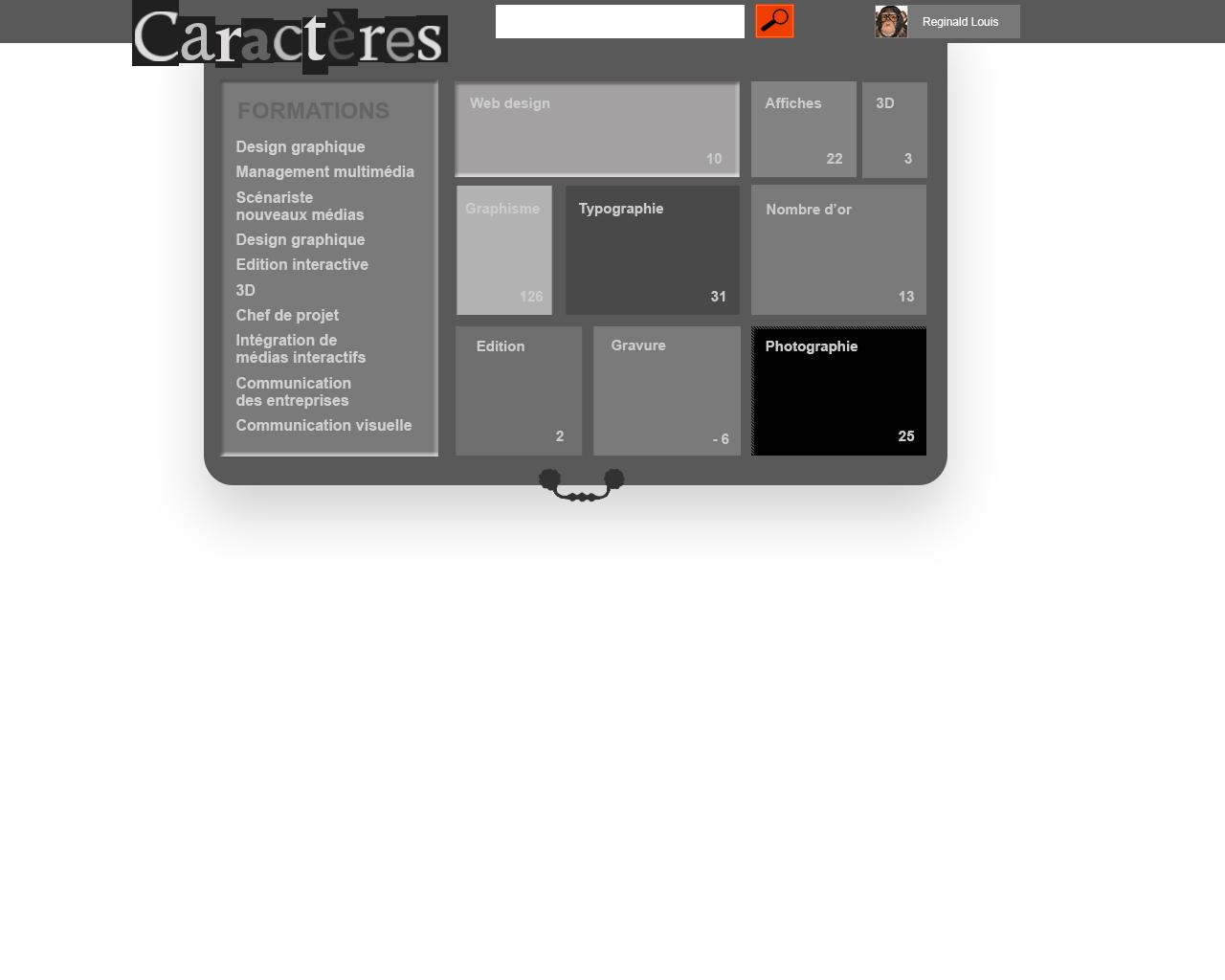 """tiroir avec le menu """"Caractère(s)"""" : activité dans le cours d'ergonomie """"la fonderie de l'image"""""""